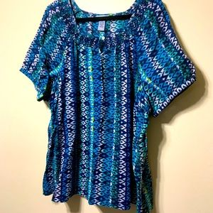 Catherine's teal, blue, lime short sleeve top